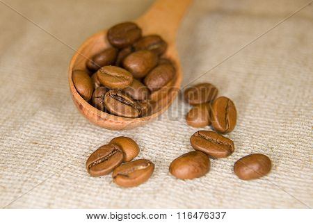 Many Roasted Coffee Beans In The Spoons