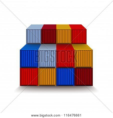 Containers Isolated On White Vector