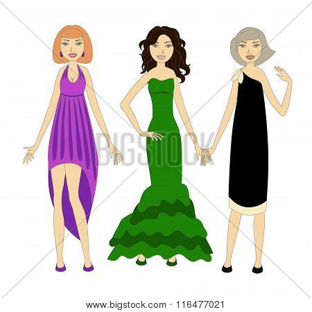 Three Young Women Wearing Fashionable Evening Dresses. No Mesh, Gradient, Transparency Used. Objects