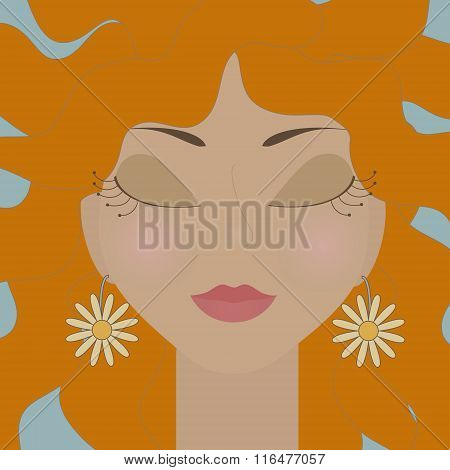 Redhead Girl With Closed Eyes And Daisies Earrings. No Mesh And Transparency Used. Gradient Used. Ob