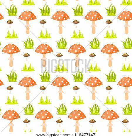 Spring Forest Mushroom Seamless Pattern.