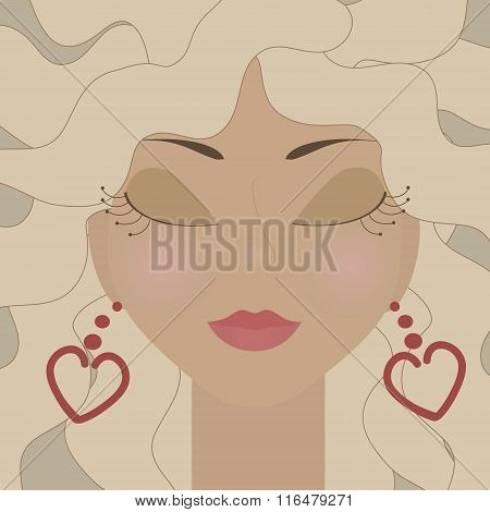 Blonde Woman With Heart Earrings. No Mesh And Transparency Used. Gradient Used. Objects Grouped And