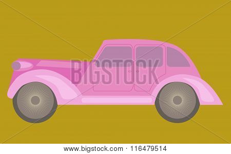 Vintage Pink Car. No Mesh, Gradient, Transparency Used. Objects Grouped And Named In English.