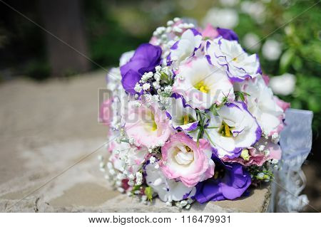 Close Up Of Beautiful Wedding Bouquet Bride On Table