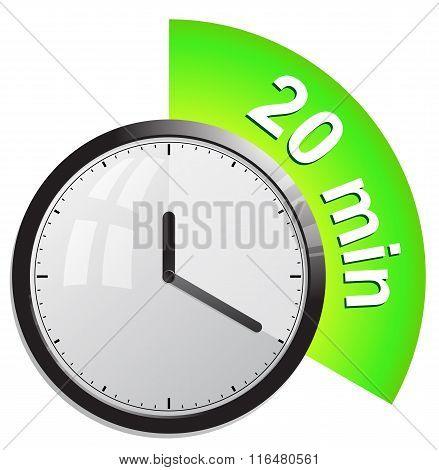 Timer 20 minutes vector illustration