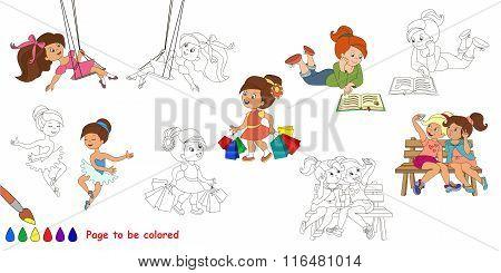 Happy girls big coloring book.