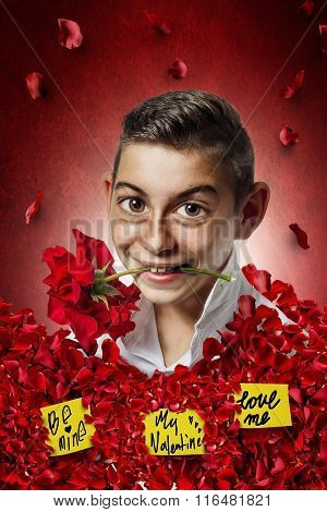 Comic Of Boy Holding Rose In Mouth And Stucking Full With Roses
