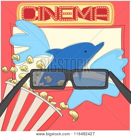 Watching 3D Movie With Glasses And Popcorn