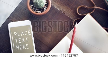 Topview Notebook Mobile Phone Text Table Concept