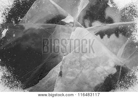 ice texture on a lake water in winter outdoors with snow