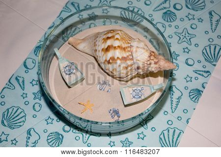 Table Set For A Wedding Dinner Summer Concept White And Blue