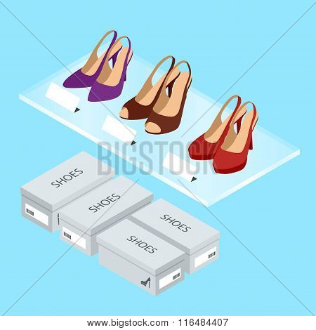 Colorful womans shoes and boxes. Womens shoes with heels. Isometric vector illustration for infograp
