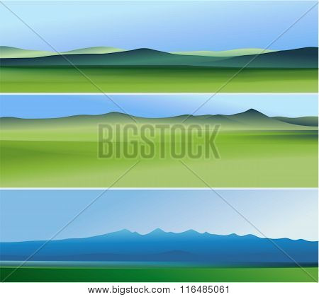 Three abstract banners with mountains