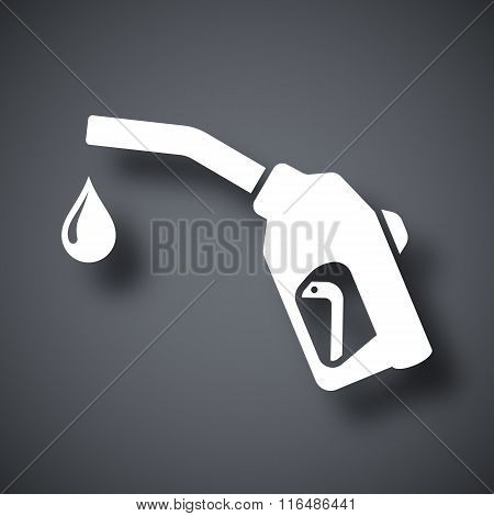 Gun For Fuel Pump With A Drop Of Fuel, Vector Icon