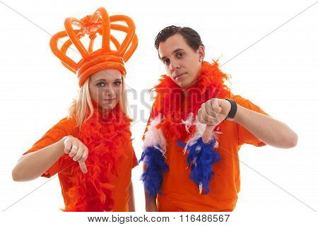 Couple Of Dutch Soccer Supporters Feeling Down