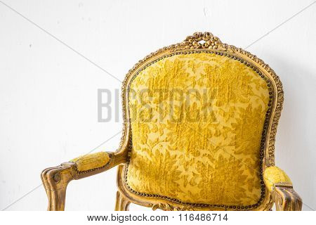 Yellow Retro classical style Armchair sofa couch in vintage room