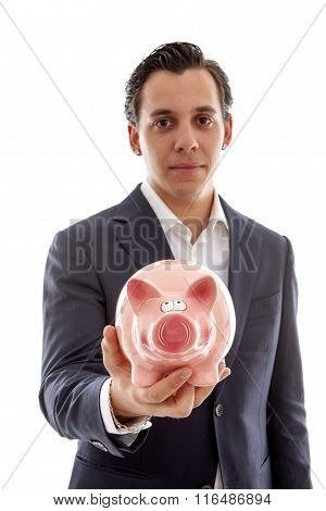 Businessman Is Holding Piggy Bank