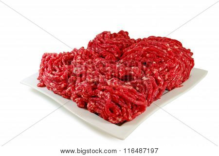 Raw meat. Minced Beef in a Dish isolated on white background