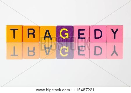 Tragedy - an inscription from children's wooden blocks