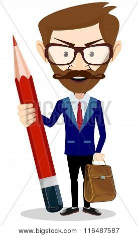 Businessman with pencil, vector illustration