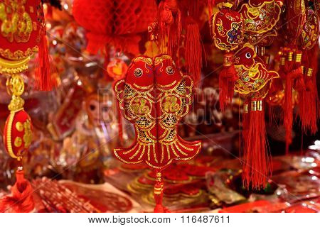 Traditional Chinese red and golden fish decortions