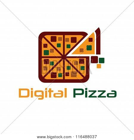 Digital Pizza Concept Vector Design Template