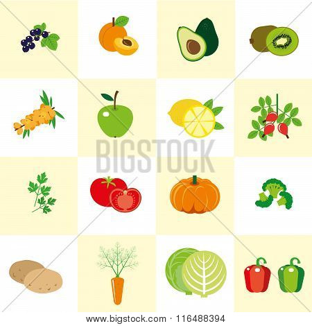 Set Of Color Images Of Vegetables And Fruit In A Flat Style. Set Of Icons. It Can Be Used For The Me