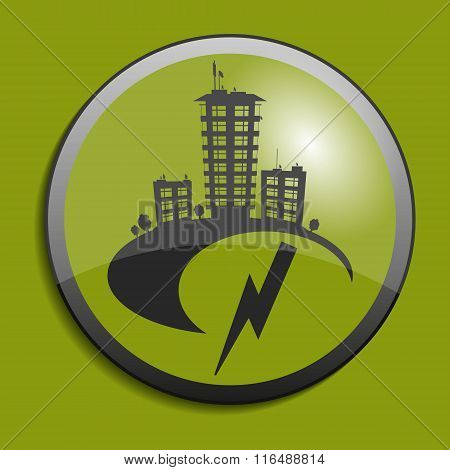 Real Estate Symbol On Circle Button. Vector