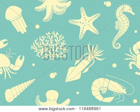 Seamless background with sea life