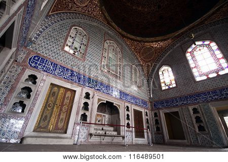 ISTANBUL,TURKEY-MARCH 25, 2010: Detail from throne room inside Harem section of Topkapi Palace, entertainment, weddings and exchange of Bayram felicitations took place in this hall.