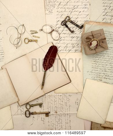 Vintage Accessories, Open Book, Old Letters And Documents Retro Style