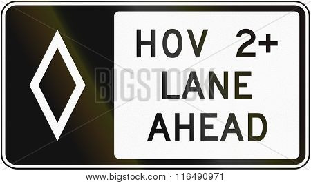 United States Mutcd Regulatory Road Sign - High Occupancy Vehicle Lane With Special Permissions