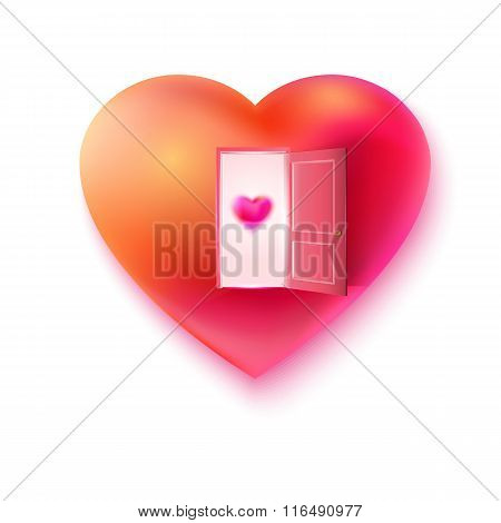 Vector heart open for love