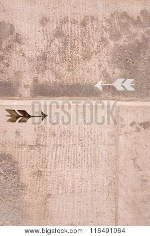 Vintage Arrow On Old Grunge Stone Wall Old Stone Wall