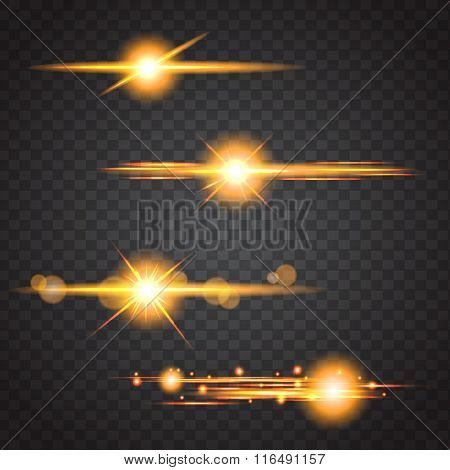 Element Orange  Light With Lens Effect Eps 10 Vector Illustration