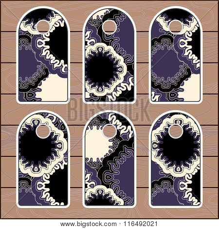Stock Vector Set Of Label With Floral Pattern On The Wood Background. Template
