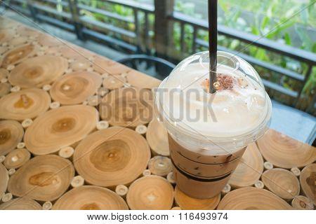 Coffee Mocha Into A Plastic Glass