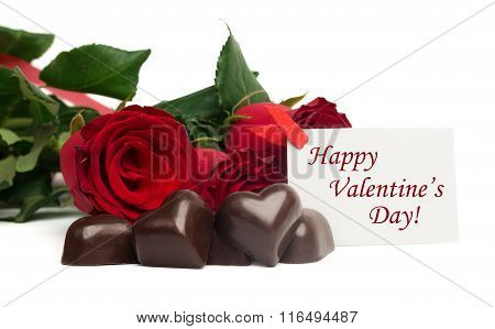 Tag Happy Valentine's Day With Red Roses And Candies
