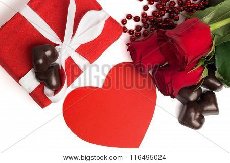 Red Present Box With White Ribbon, Red Roses, Red Paper Heart