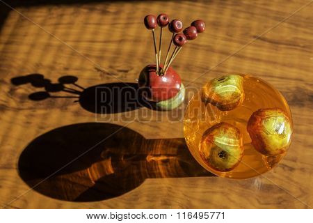 Decorative Apples Inside A Glass Container