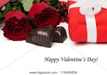 Tag Happy Valentine's Day With Red Present Box And White Ribbon