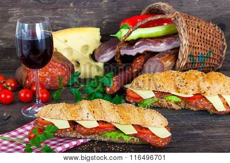 Two sandwiches in front of basket