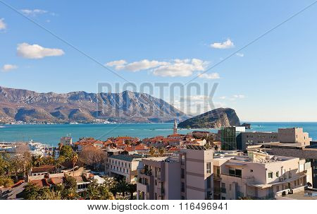 View Of Bay And Old Town In Budva, Montenegro