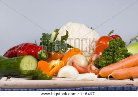 Overview Of Vegetables On A Cutting Board