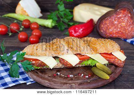 Ham and cheese submarine sandwich