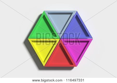 Colorful Triangles On White Background