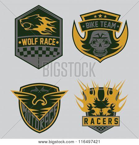 Auto And Moto Racing Emblem Set And Design Elements