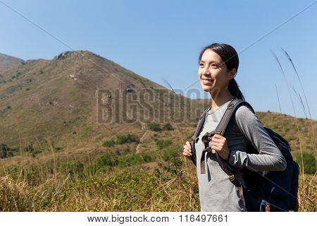 Female hiker with backpack