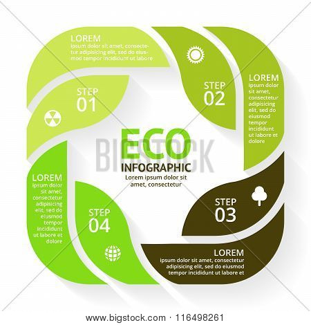 Vector circle arrows green leaves eco infographic. Ecology diagram, graph, presentation, chart. Orga
