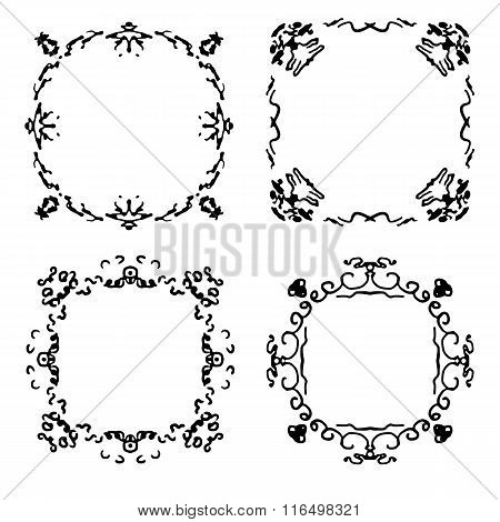 Set of four abstract hand drawn frames